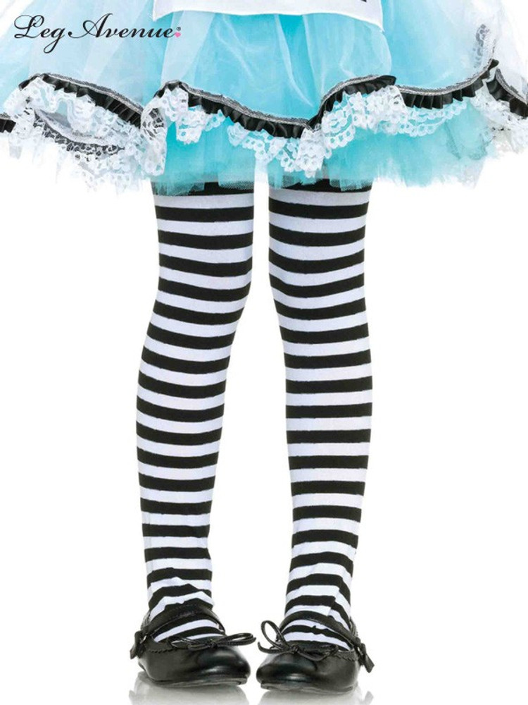 Tights Girls Black & White Stripes