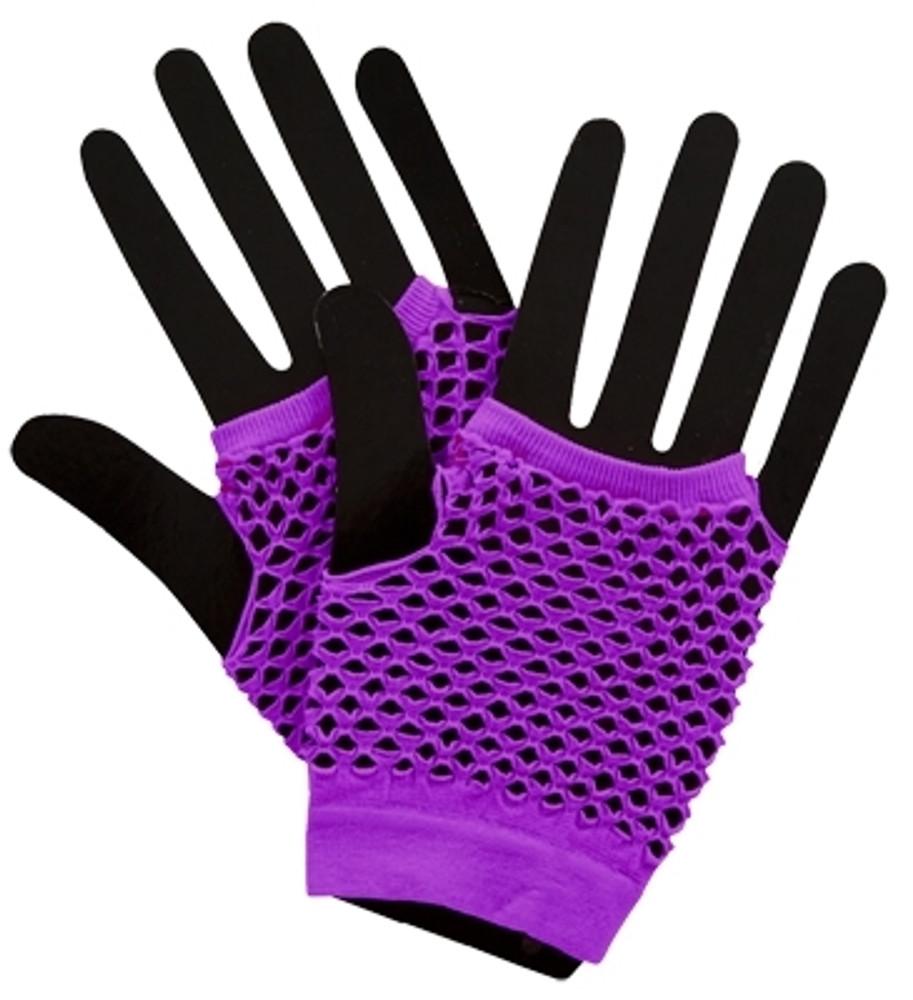 Fishnet Fingerless Gloves Short - Neon Purple