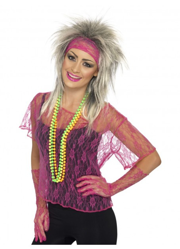 80s Neon Pink Lace Net Vest Womens