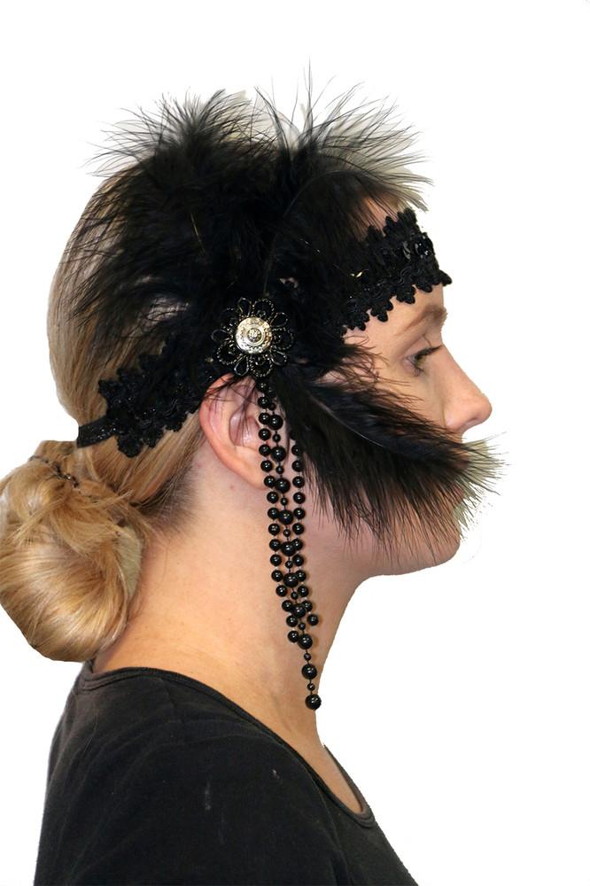 1920s Flapper Headpiece Noir