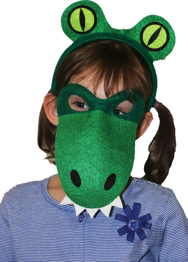 Crocodile Alligator Animal Headband & Mask Set