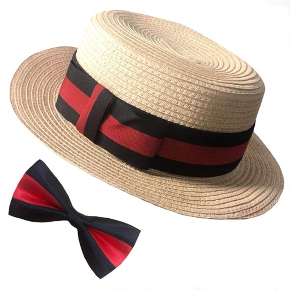 Boater Hat & Bow Tie Set