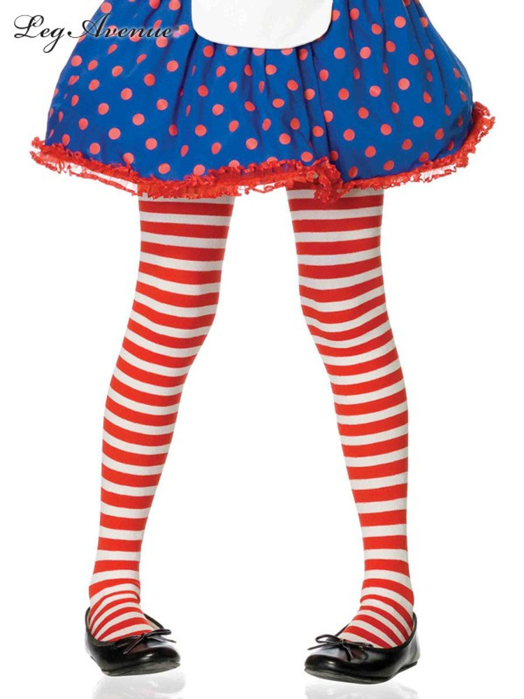 Tights Girls Red & White Stripes