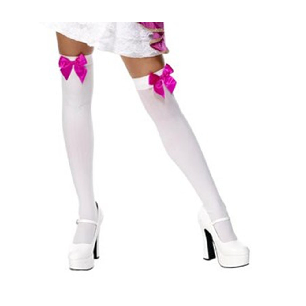 Thigh High White Stockings with Hot Pink Bow