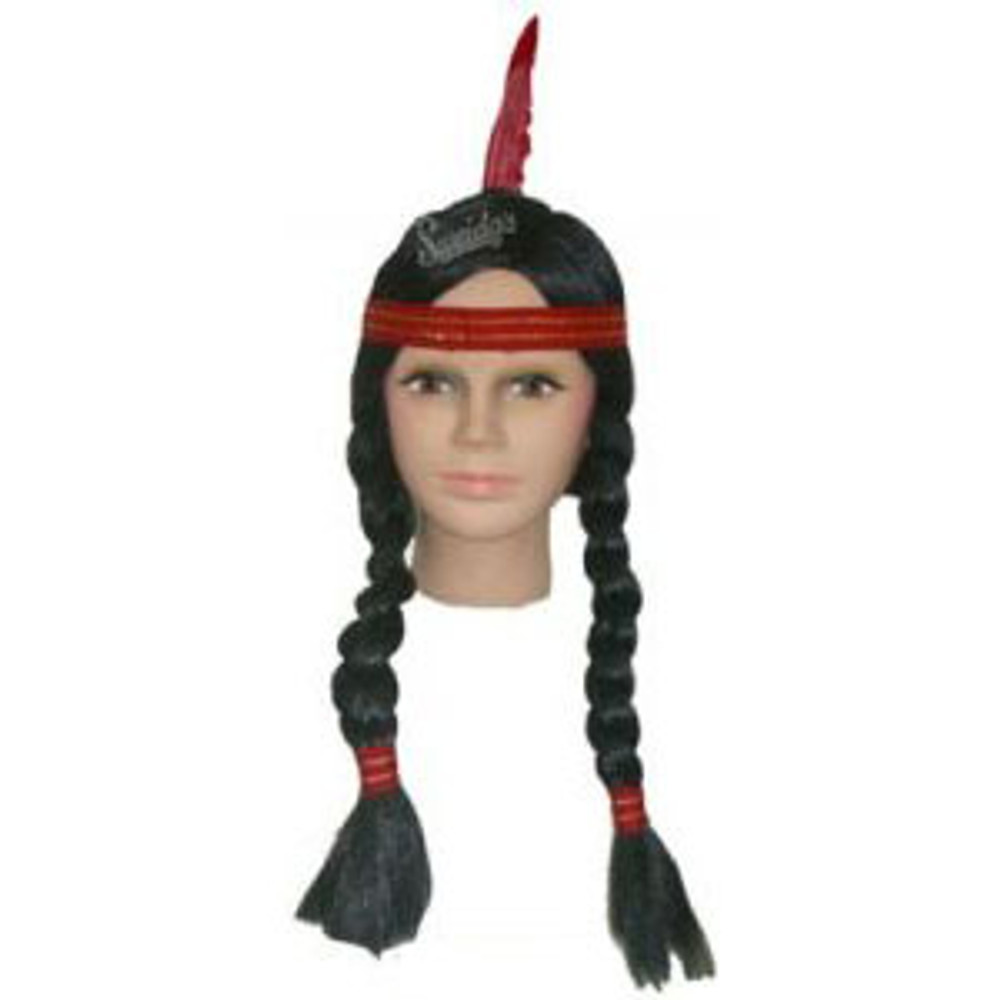 Black plaits with red band and feather.
