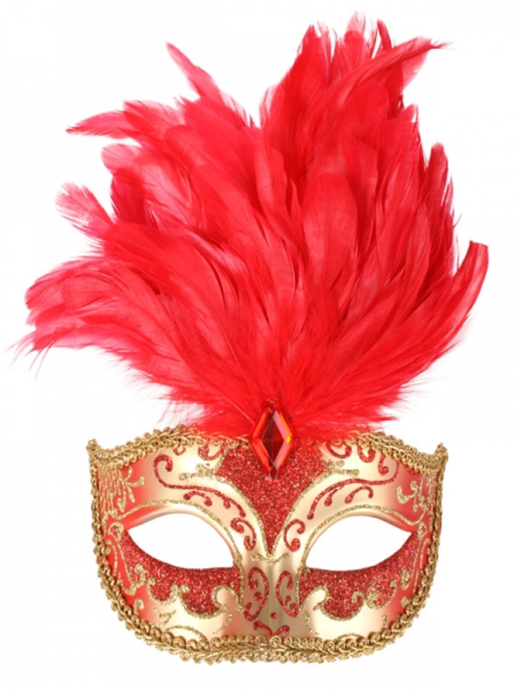 ISABELLA Red & Gold with Feathers Eye Mask