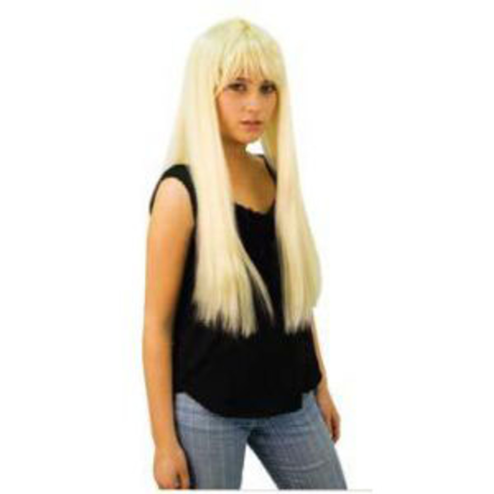 Long Straight Wig With Fringe - Blonde