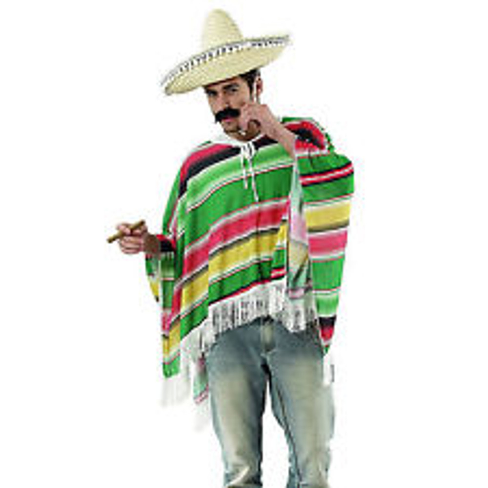 Mexican Poncho - Green/Red/Yellow - Adult