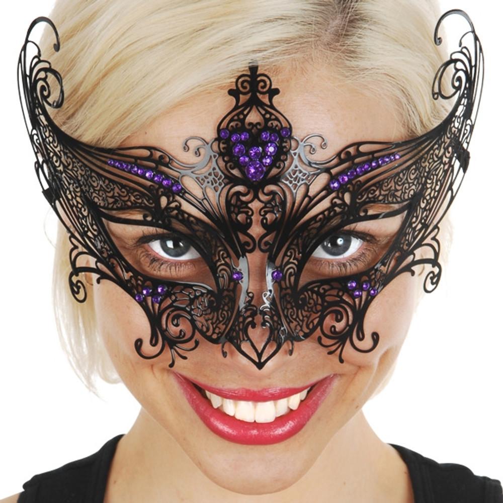 Champagne Metal Eye Mask with Purple Jewels