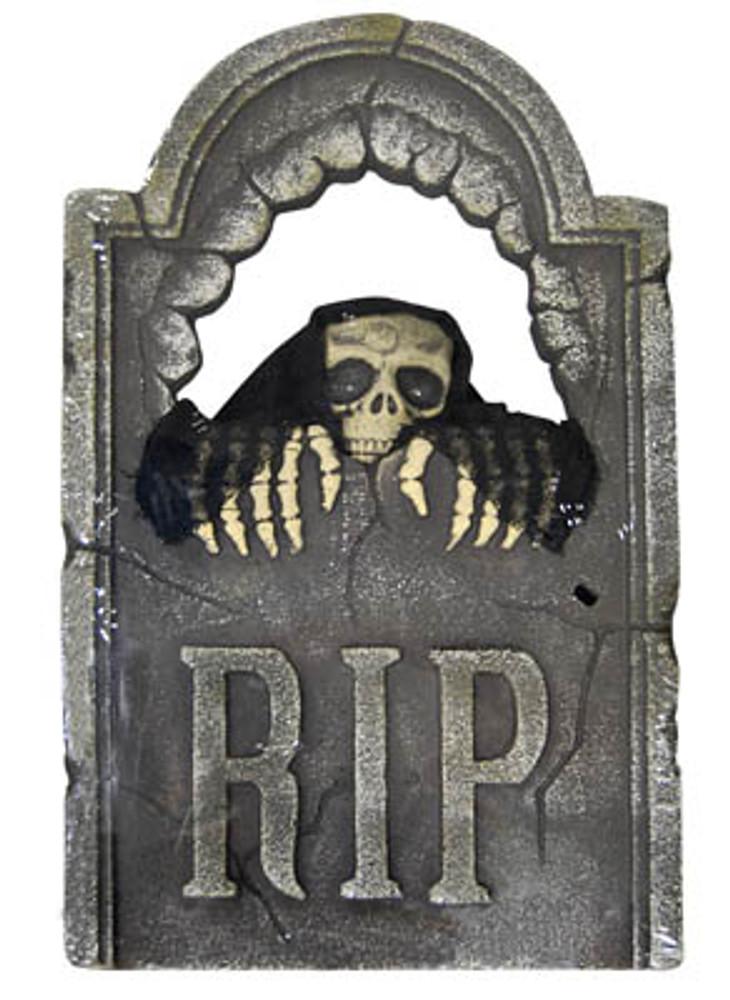 Halloween Peeping Skull Tombstone with Light Up Eyes