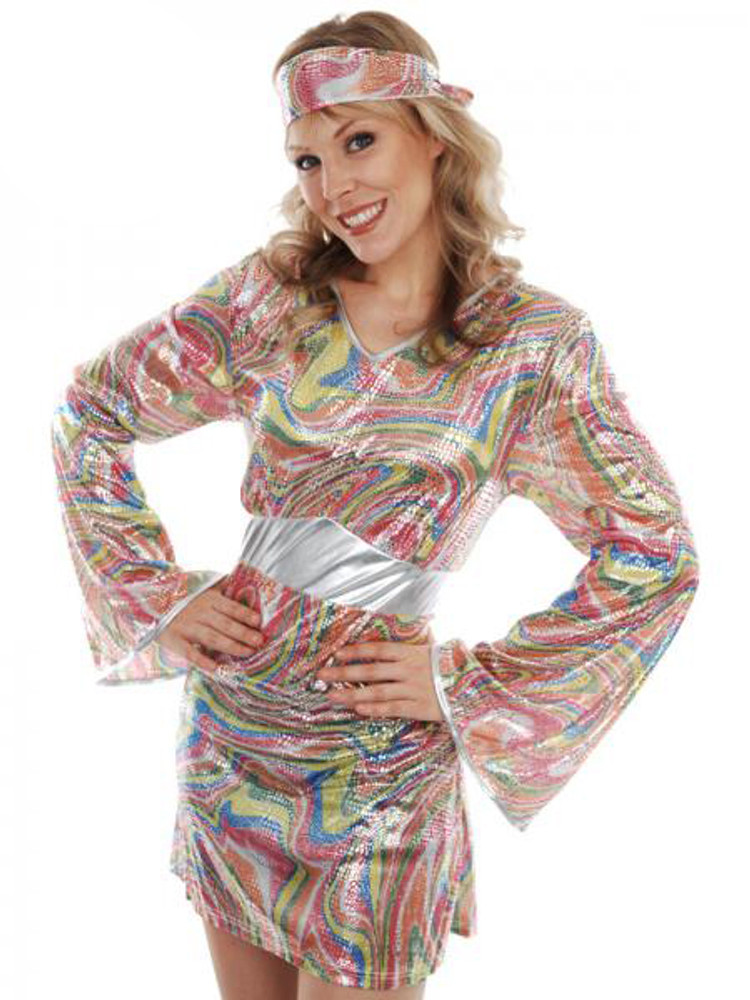 Psychedelic Mini Dress & Headband 60s & 70s Womens Costume