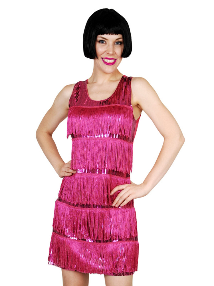1920s Pink Flapper Sequin Dress Womens Costume
