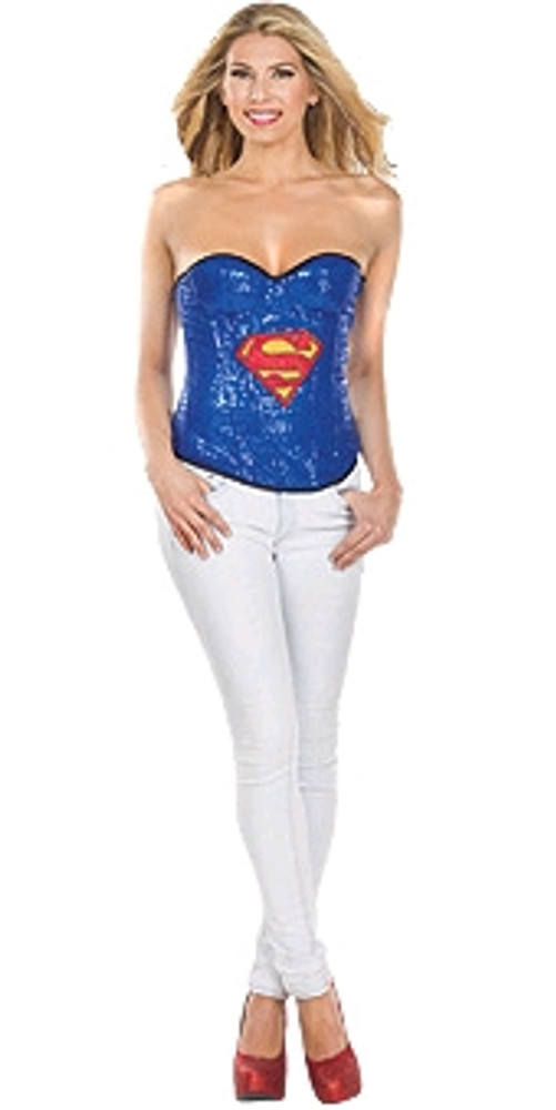 Supergirl Sequin Corset Women's Costume