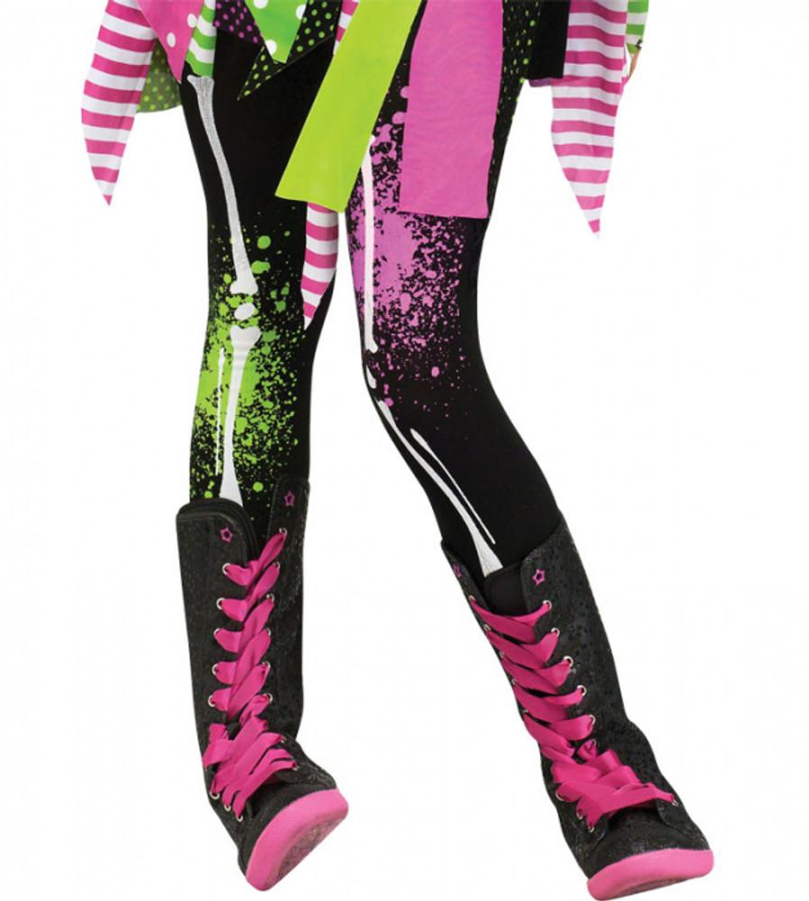 Halloween Skeleton Costume Kids.Skeleton Neon Bones Kids Leggings