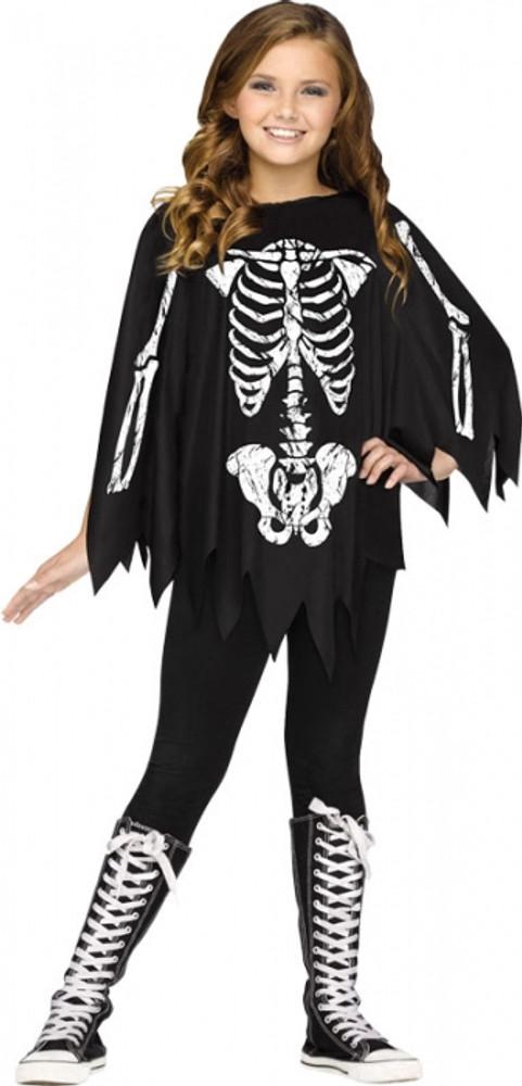 Halloween Skeleton Costume Kids.Skeleton Kids Poncho