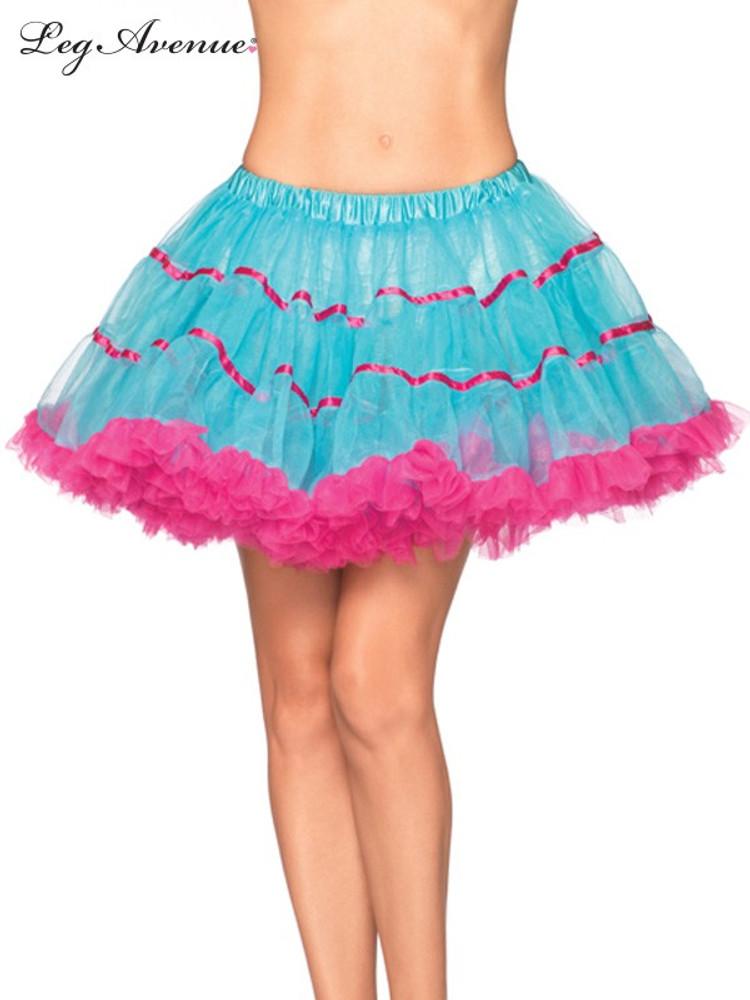 Petticoat Satin Striped Tulle Petticoat - Turquoise/Pink