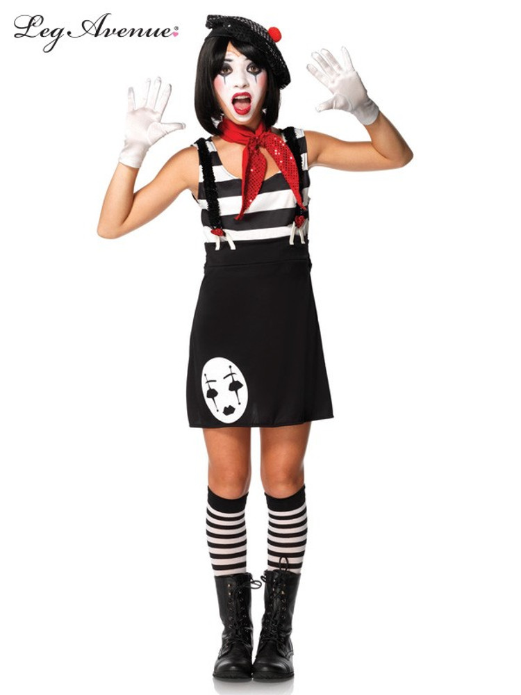 Mime Artist Miss Mime Teen Costume