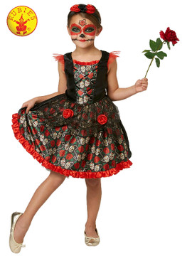 Red Rose Day of the Dead Girls Costume