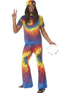 1960's Tie Dye Top and Flared Trousers Mens Costume