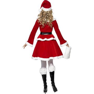 Miss Santa Christmas Womens Costume with Muff