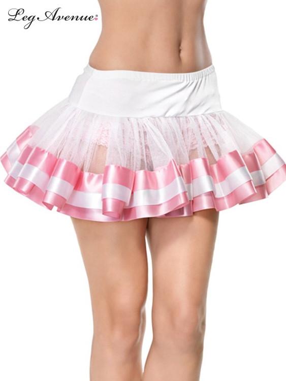 Petticoat Satin Trim White/Pink