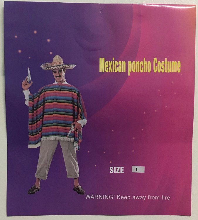 Mexican Poncho - Rainbow - Adult