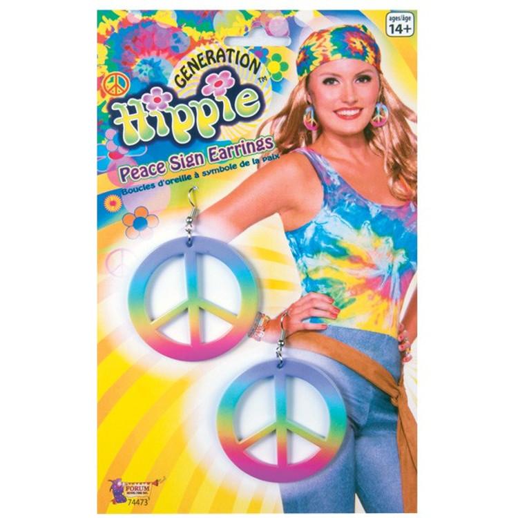 Peace Sign Earrings Rainbow