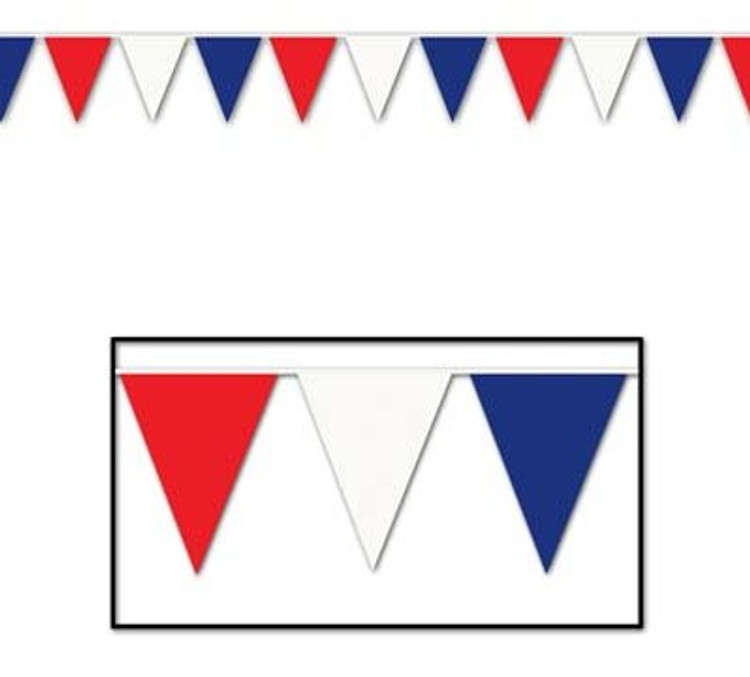 Theme Decorations Banner Pennant Red White Blue