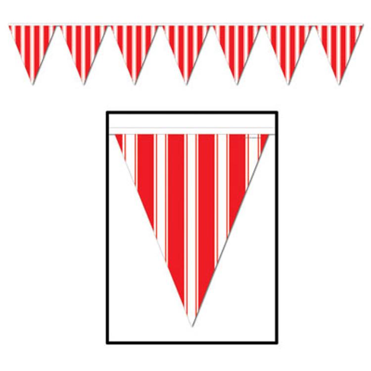 Circus Striped Pennant Banner