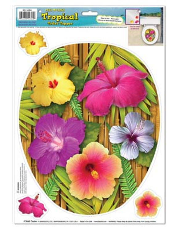 Tropical Flowers Toilet Topper