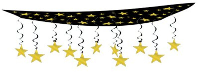 Movie Ceiling Decor Black with Gold Star