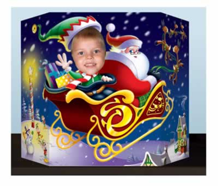 Santa & Sleigh Christmas Photo Prop