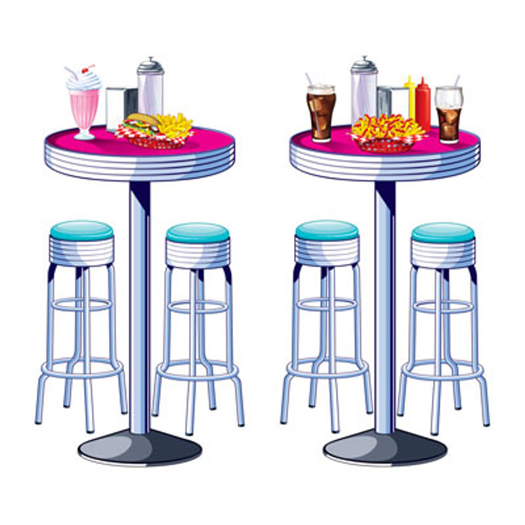Rock & Roll Insta Theme Prop Soda Shop Tables & Stools