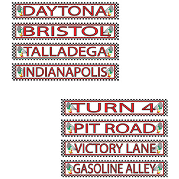 Racing Street Signs Cut Outs