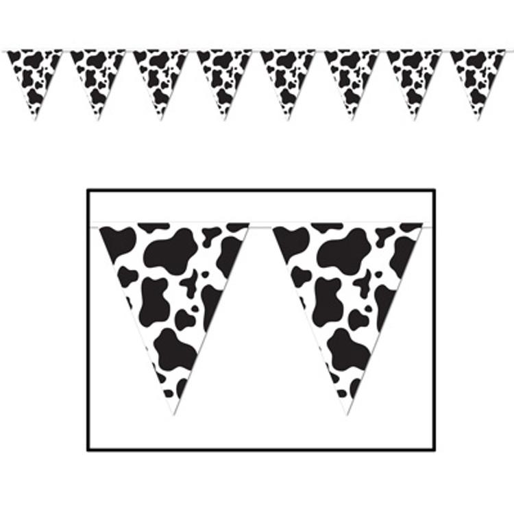 Cow Print Pennant Banner