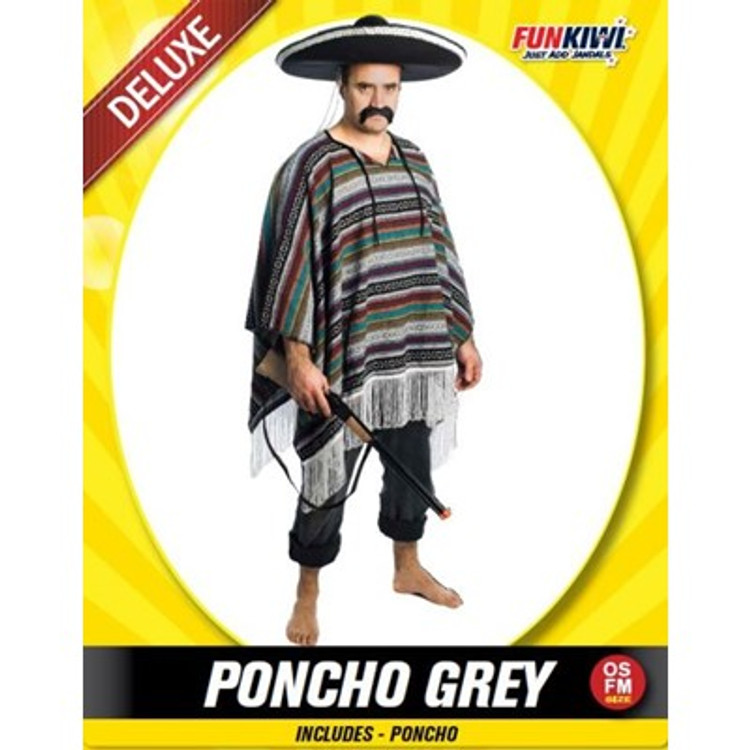 Mexican Grey Poncho Adult