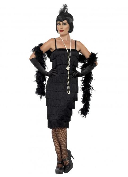 1920's Long Black Flapper Womens Costume