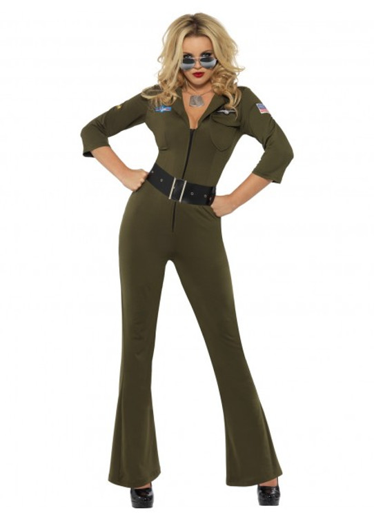 Top Gun Aviator Jumpsuit Womens Costume