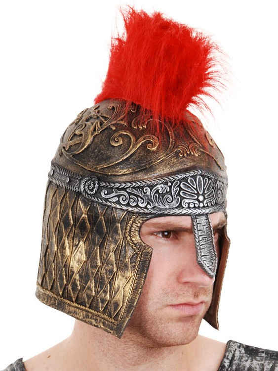 Gladiator Helmet Gold & Silver with Red Plumage