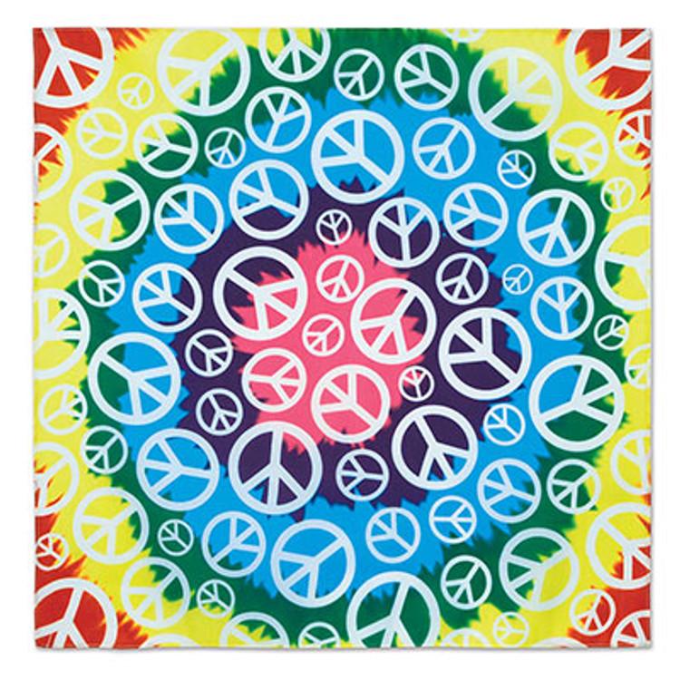 1960's Hippie Tie Dye Peace Bandana