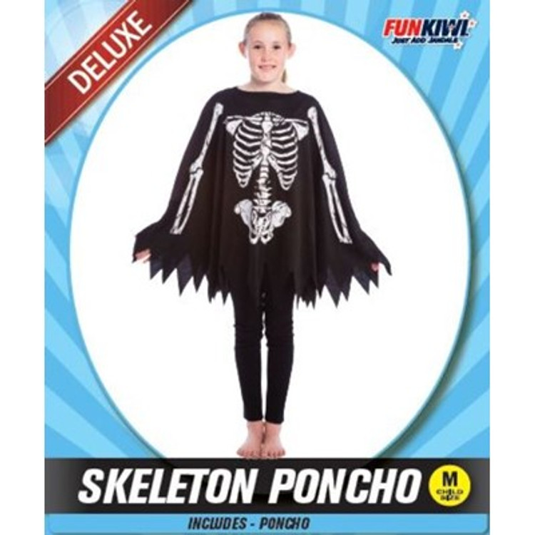 Skeleton Poncho Kids Costume
