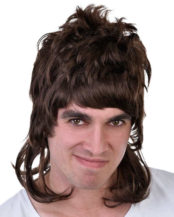 1980s Mullet Wig - Brown Dazza
