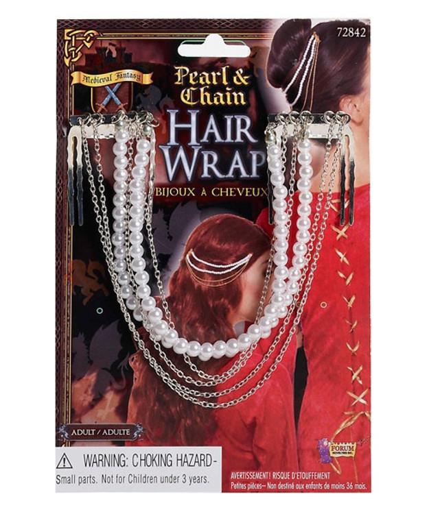 Medieval Pearl & Chain Hair Wrap