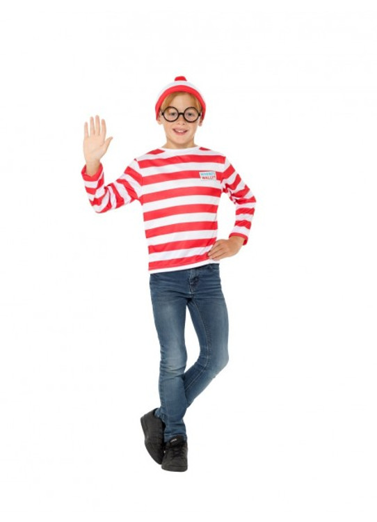 Kids Adult Where/'s Wally Costume Shirt Beanie Glasses Scarf Book Week Outfit