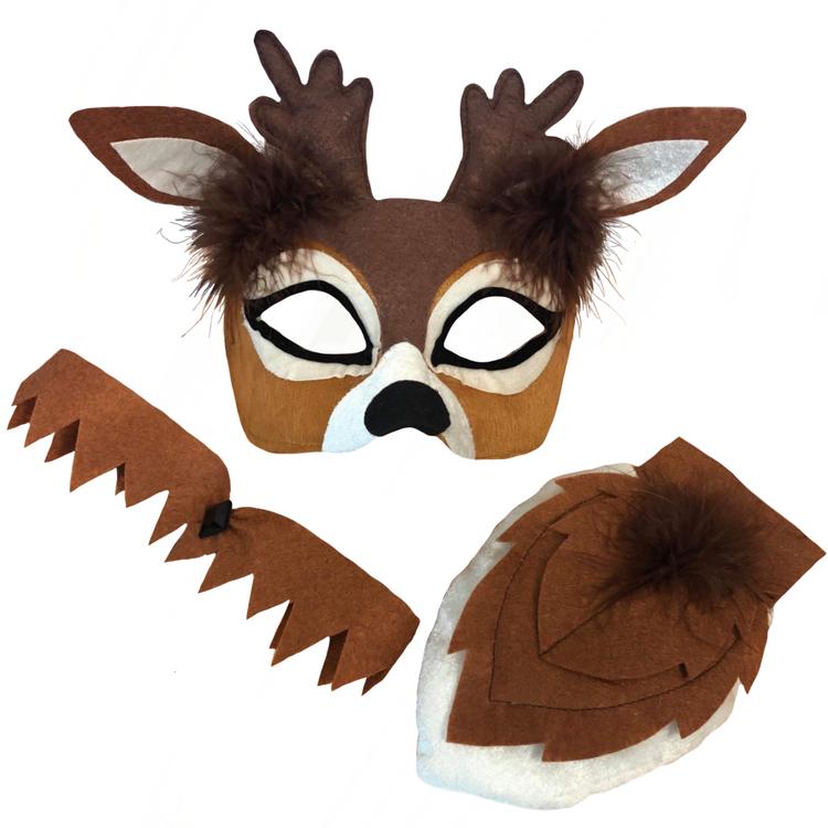 Deer Animal Mask & Tail Set Adult