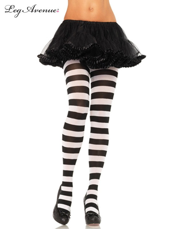 Alice Tights Adult Black & White Stripe