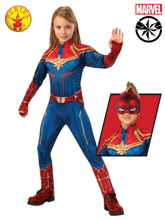 Captain Marvel Hero Suit Deluxe Girls Costume