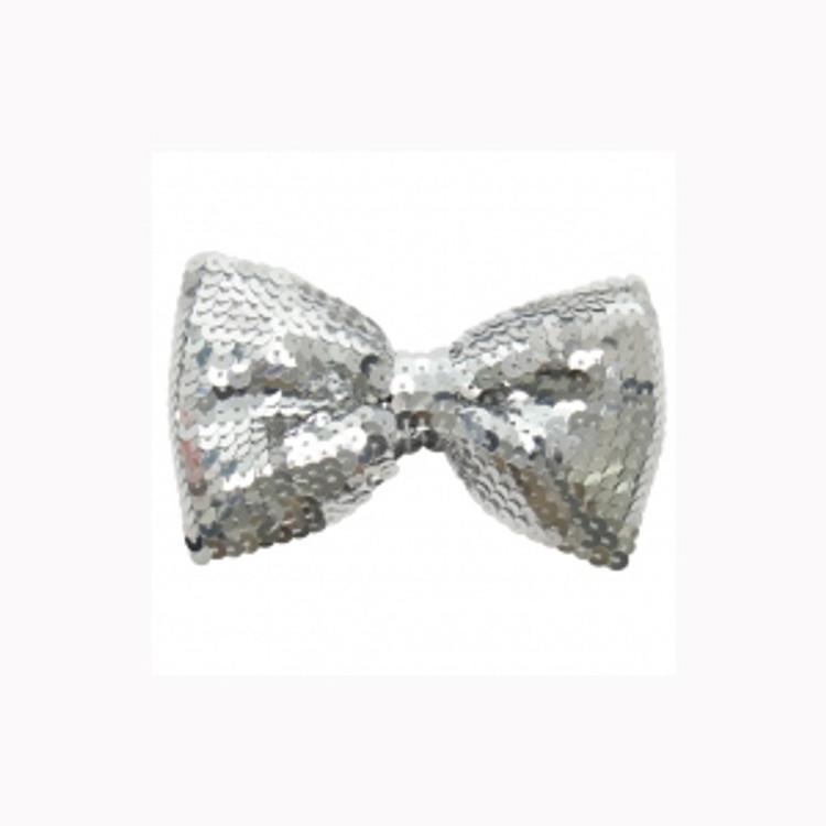 Silver Sequin Bowtie