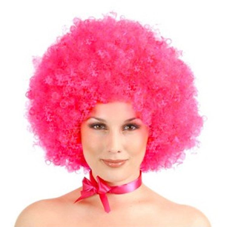 Afro Circus Pink Clown Wig