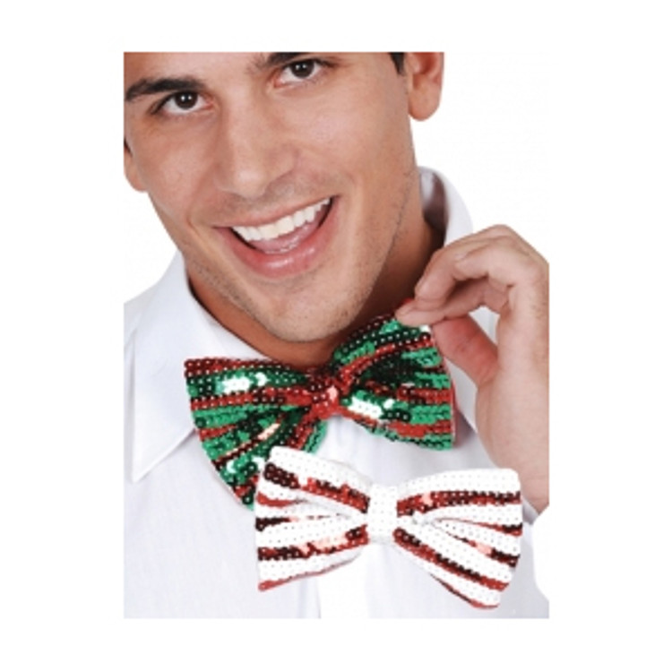 Sequin Bowtie Red White or Red Green
